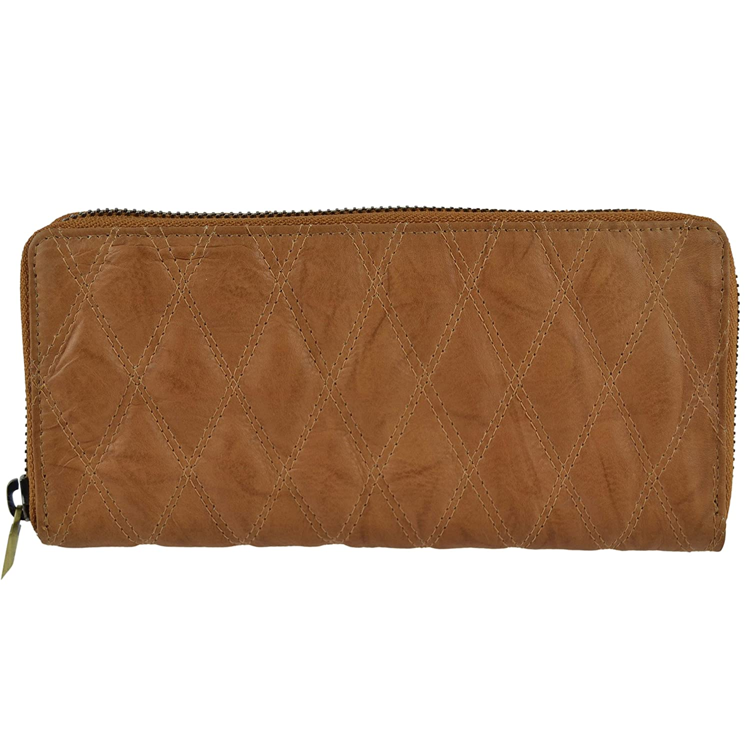GIGI Womens Quilted Continental Leather Purse//Wallet Gigi Zip Around Gift Boxed