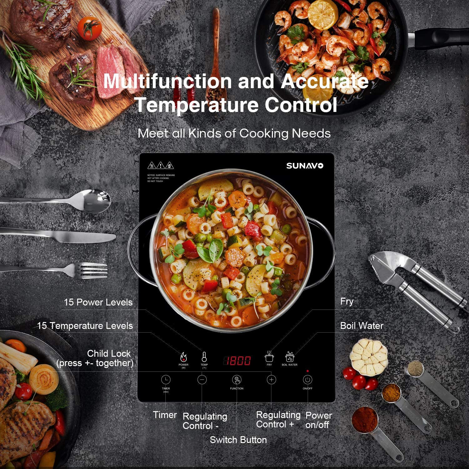 SUNAVO Portable Induction Cooktop Sensor Touch CB-I11A 1800W Induction Burner 15 Temperature Power Setting