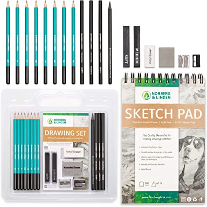 Art Kit and Supplies for Kids Drawing Sketching and Charcoal Pencils Sketch Pencils Set Teens and Adults. Includes 100 Page Drawing Pad and Kneaded Eraser