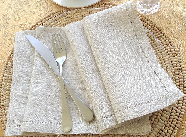 Luxury Natural Linen Hemstitched Dinner Napkins Set of 6