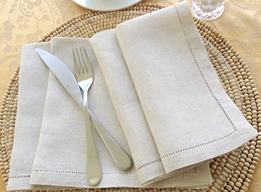 Christmas Tablescape Decor - Luxury natural linen hemstitched dinner napkin set