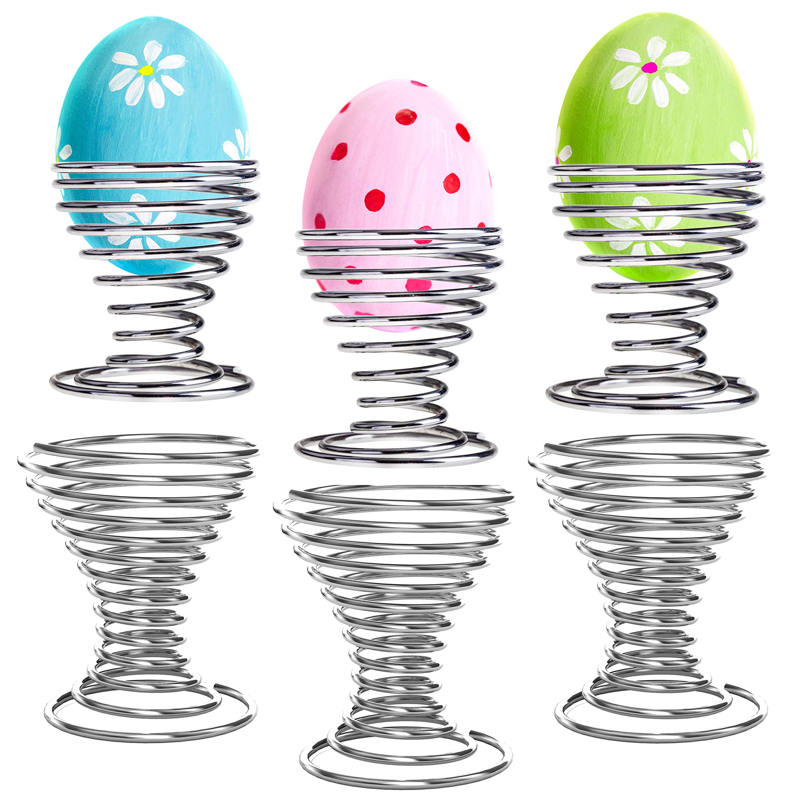 Chrome-Plated Steel Spring Wire Easter Egg Display Holder Serving Cups, Set of 6
