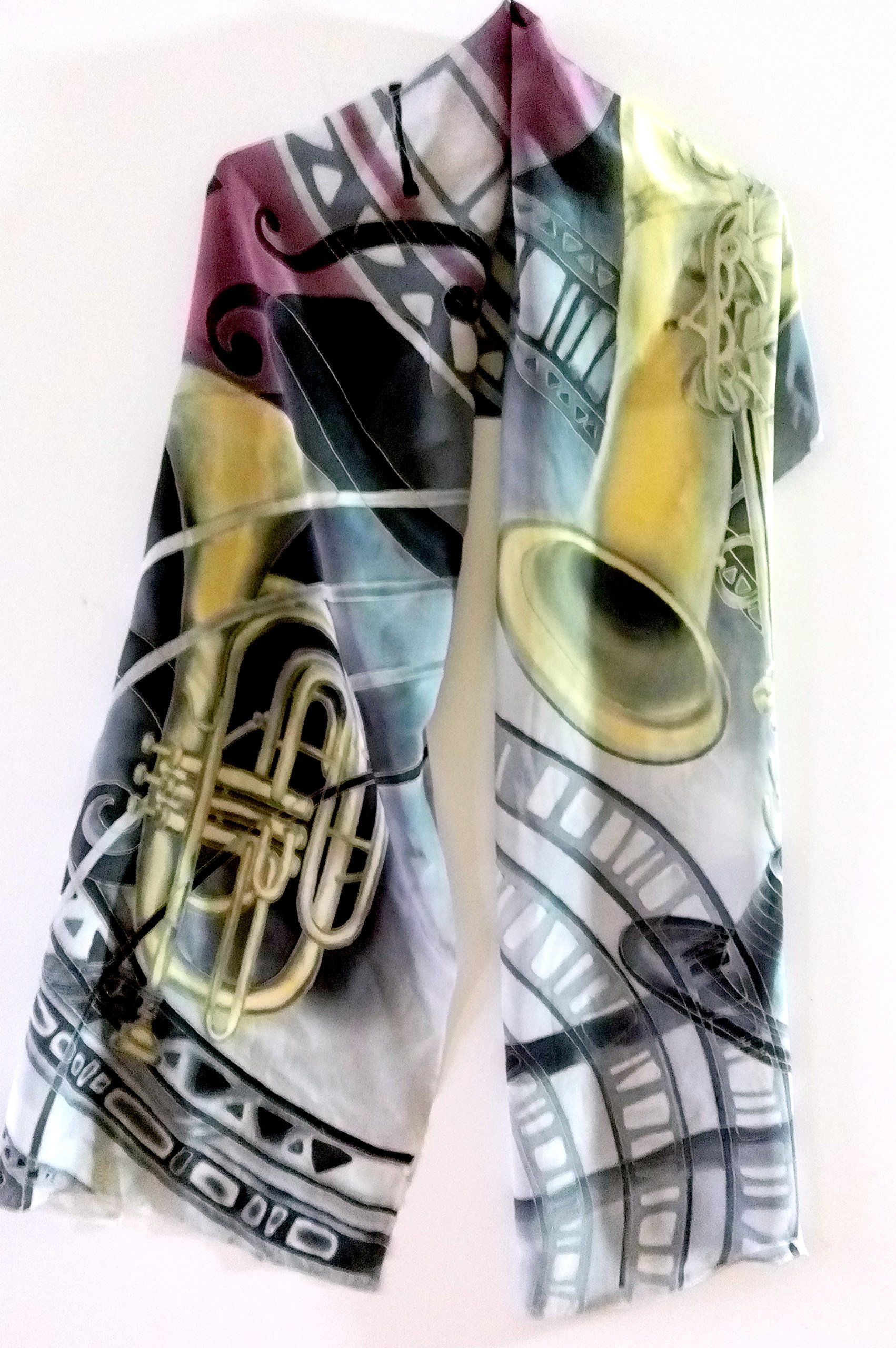 Jazz scarf Hand painted silk scarf Gift for music lover