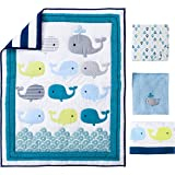 Ocean Whale Crib Bedding 4pcs set Baby Bedding Set Nursery With Comforter Blanket