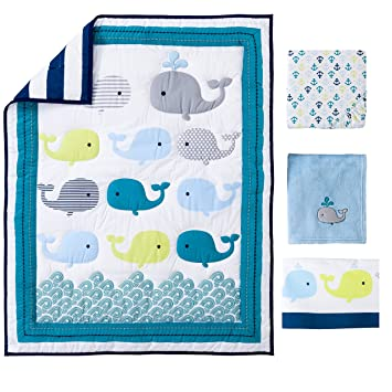 Amazoncom Ocean Whale Crib Bedding 4pcs Set Baby Bedding Set