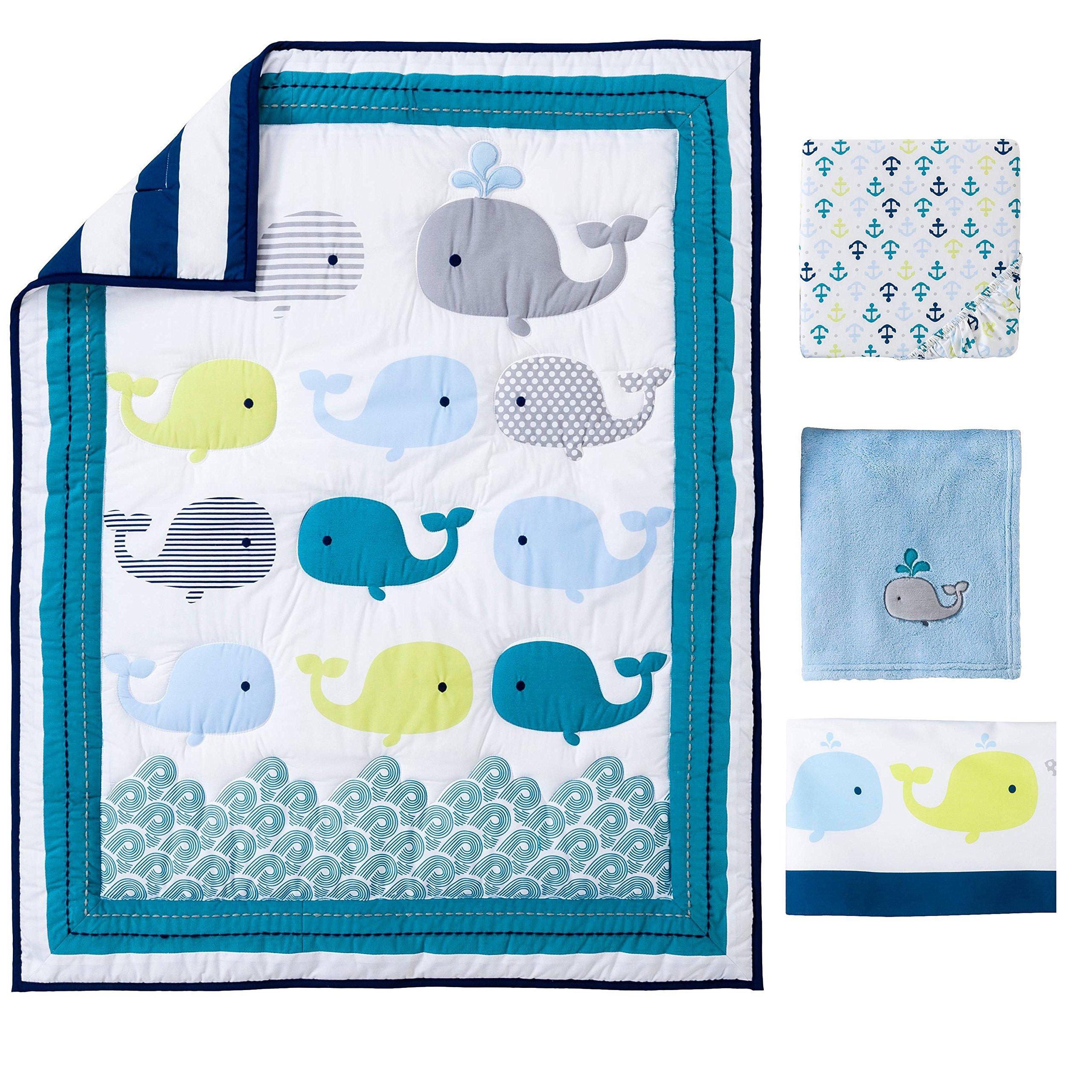 Ocean Whale Crib Bedding 4pcs set Baby Bedding Set Nursery With Comforter Blanket