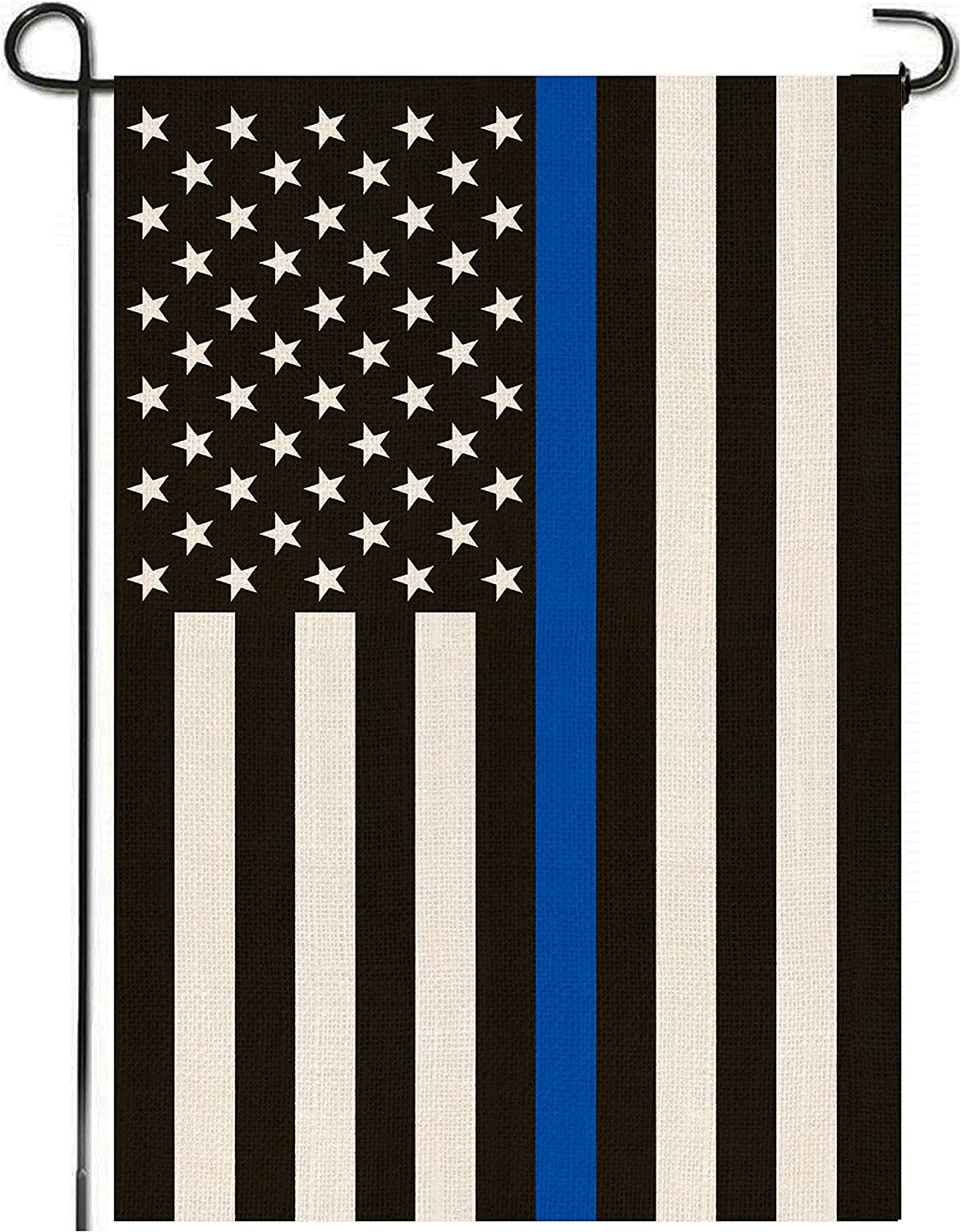Mogarden Thin Blue Line USA Garden Flag, Double Sided, 12.5 x 18 Inches, Honoring Law Enforcement Officers, Back The Blue, Blue Lives Matters, Thick Weatherproof Burlap American Police Yard Flag