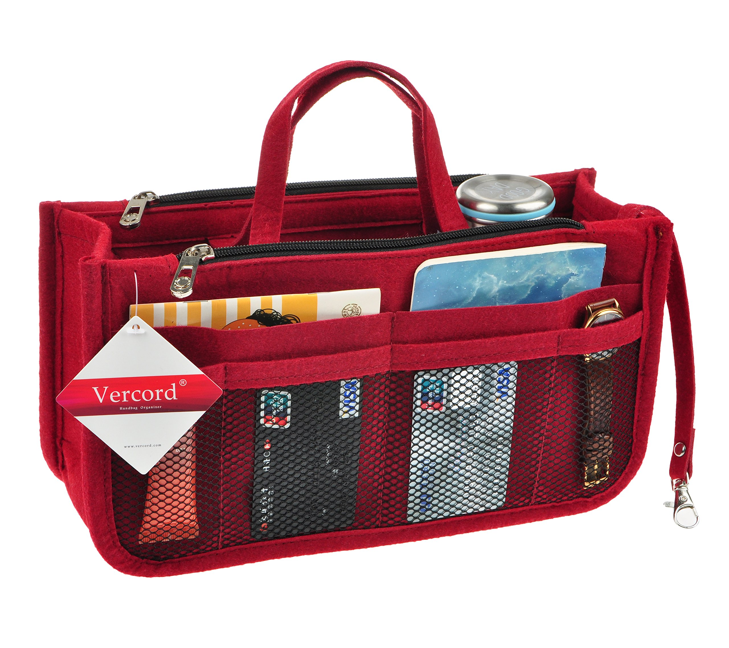 Vercord Sturdy Felt Handbag Purse Organizer Insert With Keychain 17 Compartments, Burgundy M