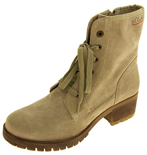 6d20682296388c Womens S.Oliver Beige Leather Combat Boots UK 5  Amazon.co.uk  Shoes ...