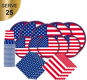 American Flag Patriotic Paper Tableware Set- 125 Pieces - Including Napkins , 10