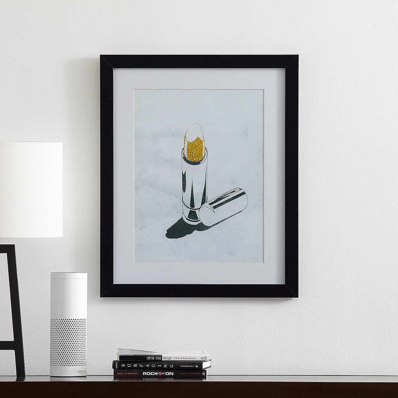 Glamorous Gold Lipstick Print in Black Frame, 18