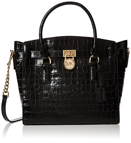 3001bb3a8fa8 Michael Kors Womens Hamilton Croc-embossed Leather Top-Handle Bag Black  (Black)