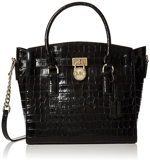 7f081a3cd3 Michael Kors Hamilton Croc-embossed Leather - Borse a mano Donna, Nero  (Black