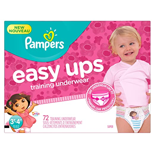 Pampers Girls Easy Ups Training Underwear, 3T-4T (Size 5), 72 Count