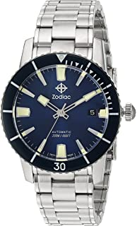 Zodiac Mens Super Sea Wolf 53 Swiss Automatic Stainless Steel Luxury Diving Watch Color: Silver