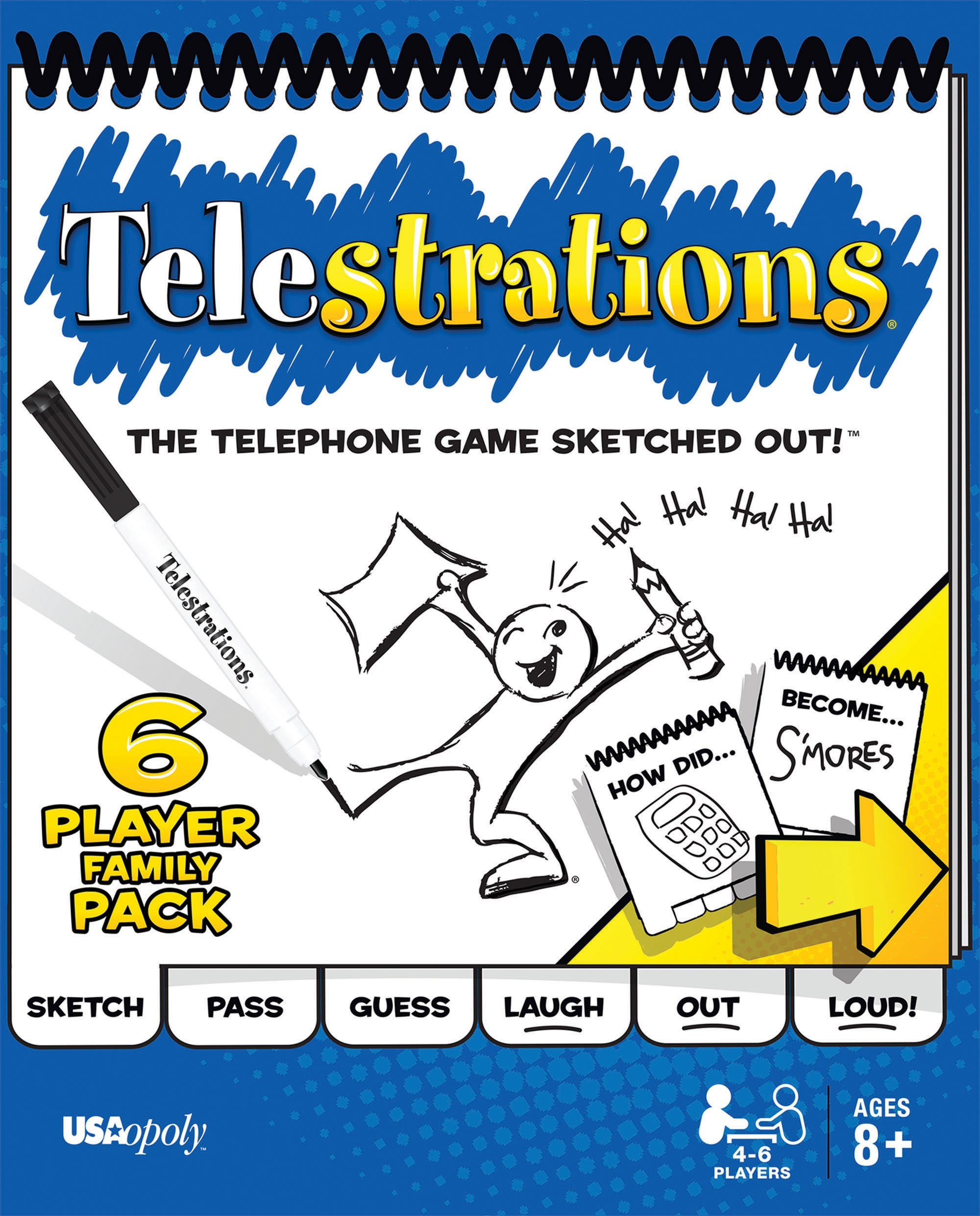 USAopoly Telestrations Original 6 Player Board Game | #1 LOL Party Game | Play with Your Friends & Family | Hilarious Game For All Ages | The Telephone Game Sketched Out