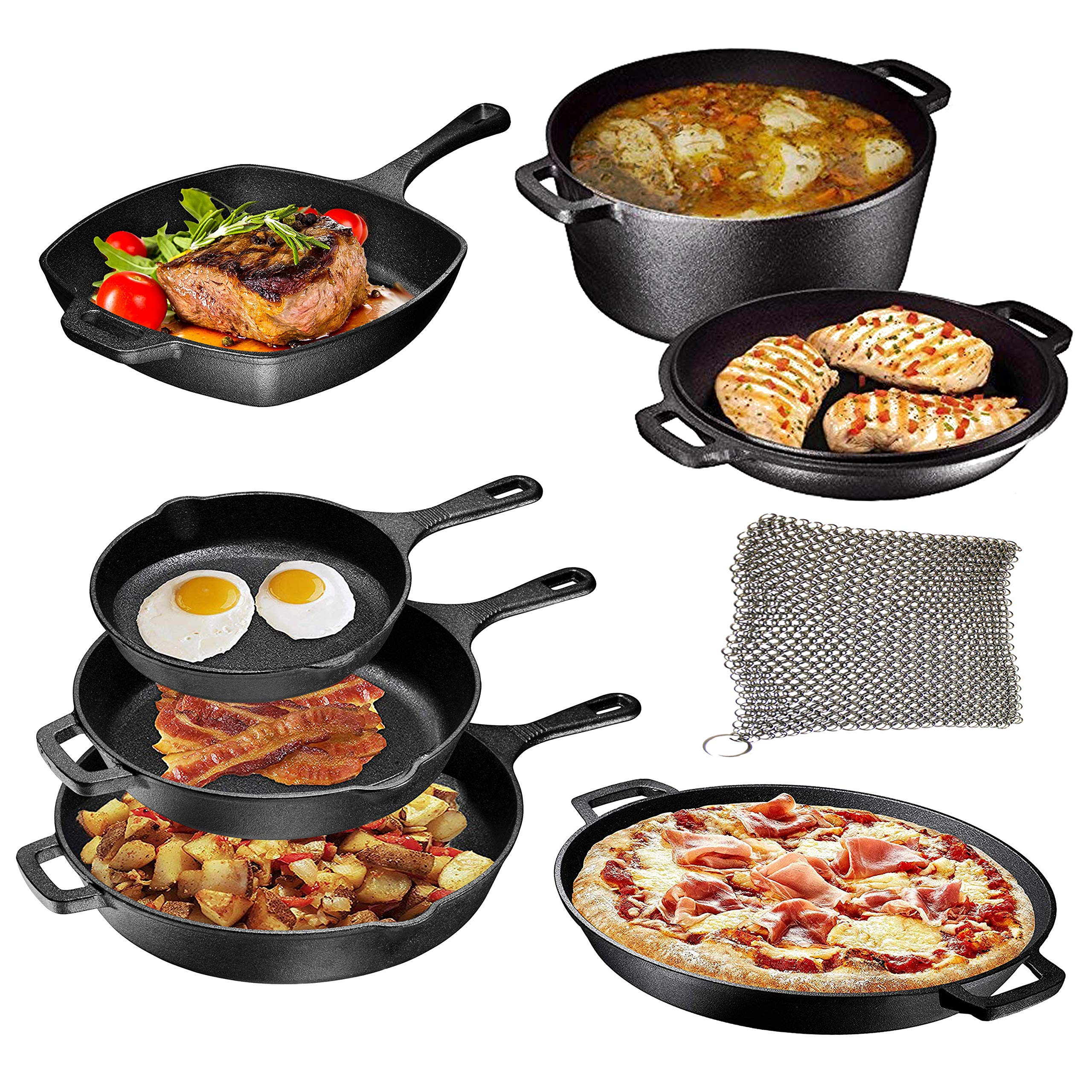 Pre Seasoned Cast Iron 8 Piece Bundle Camping Gift Set, Double Dutch, 16 inch Pizza Pan, 3 Skillets & Square Grill Pan, Camping Cookware Set by Bruntmor