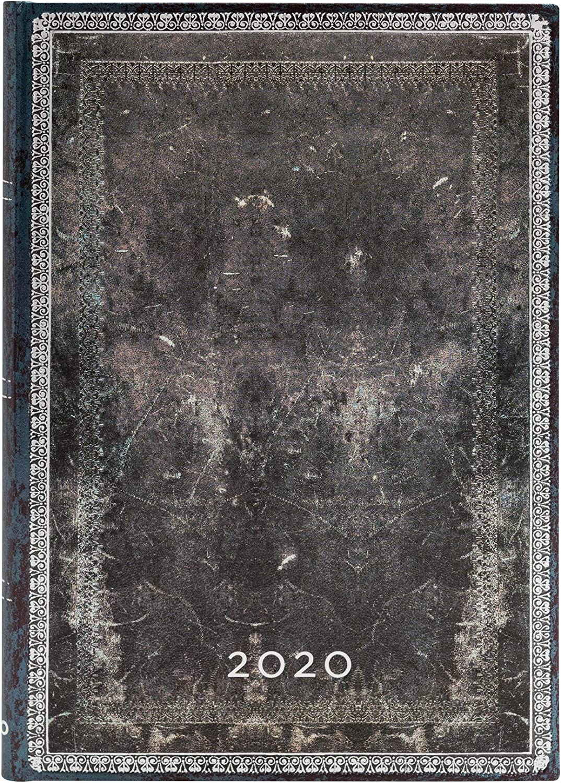 Midi Paperblanks 12-Monatskalender 2020 Mitternachtsstahl  Verso 180 x 130 mm