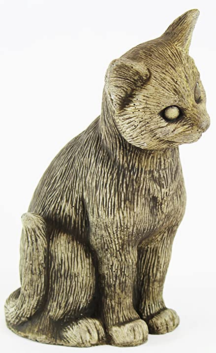 Standing Kitty Concrete Statue Cement Cat Figurine Cast Stone Animal Garden  Sculpture
