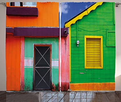 Lunarable Mexican Curtains Caribbean Houses In Vibrant Color Scheme Isla Mujeres Mexico Latin America