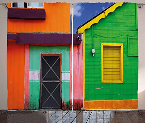 Mexican Curtains By Lunarable, Caribbean Houses In Vibrant Color Scheme In  Isla Mujeres Mexico Latin