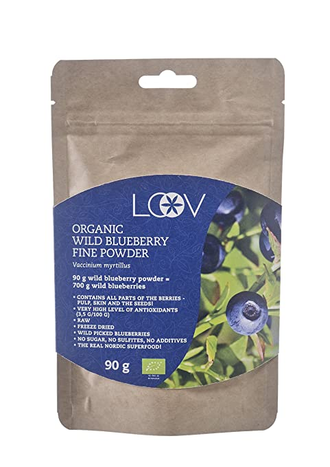 Arándano azul silvestre en polvo: orgánico, cuidadosamente seleccionados a mano procedente de bosques nórdicos, 100% obtenido a partir de fruta ...