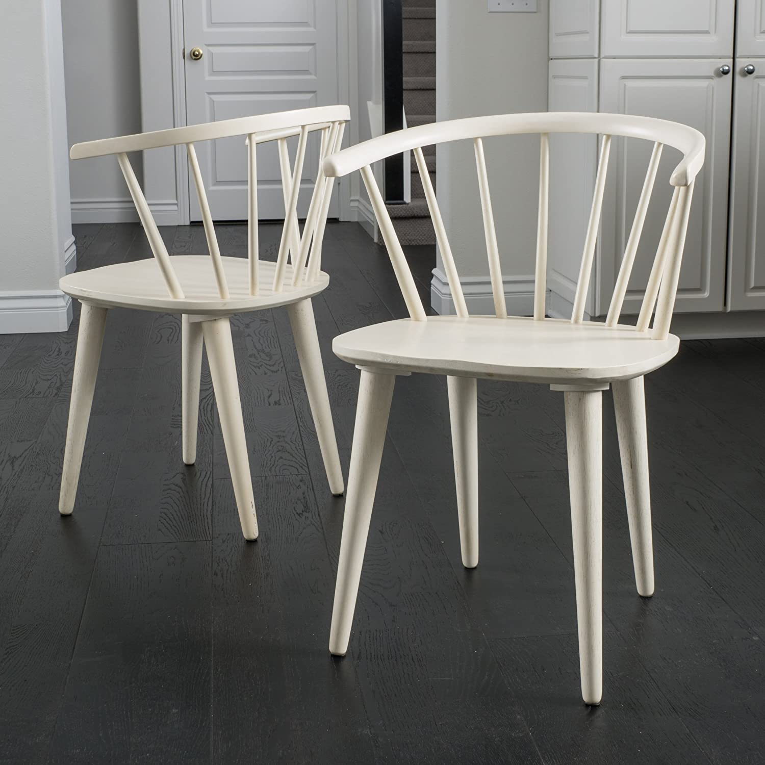 Christopher Knight Home 296032 Countryside Rounded Back Spindle Dining Chair, Antique White