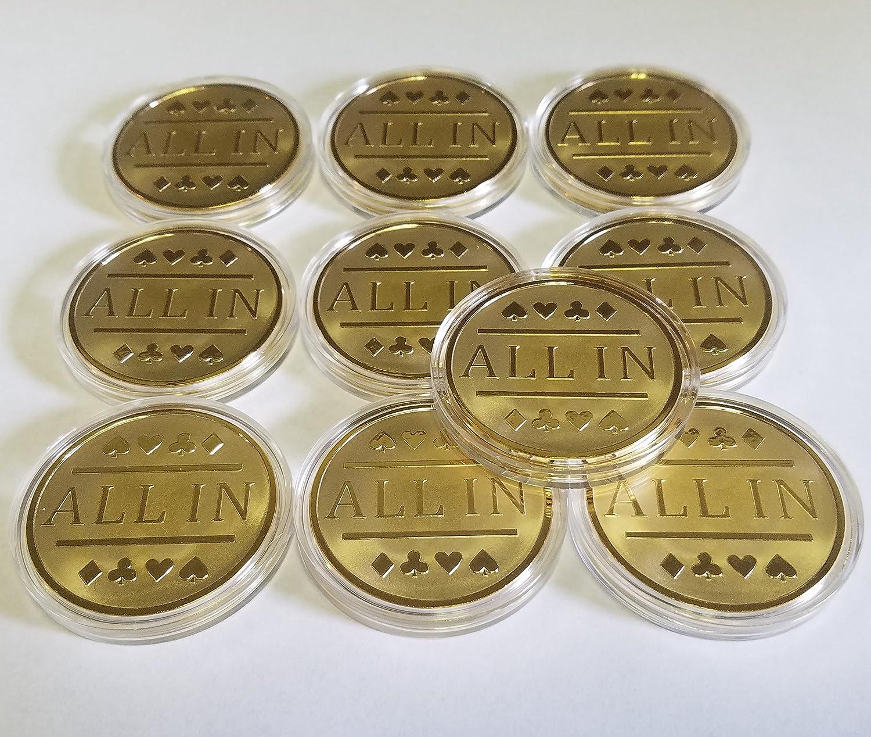 10 x All in Poker Chip /ゴールドCladカードプロテクターBountyチップetc。   B00GX0E2G4