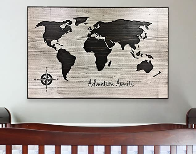 Amazon Com Nursery Decor World Map Art Adventure Awaits Wooden