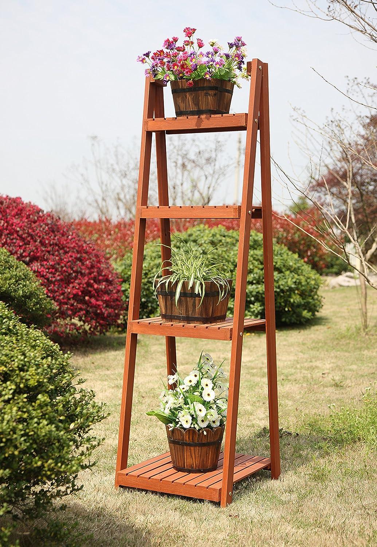 amazon com convenience concepts 4 tier plant stand patio lawn
