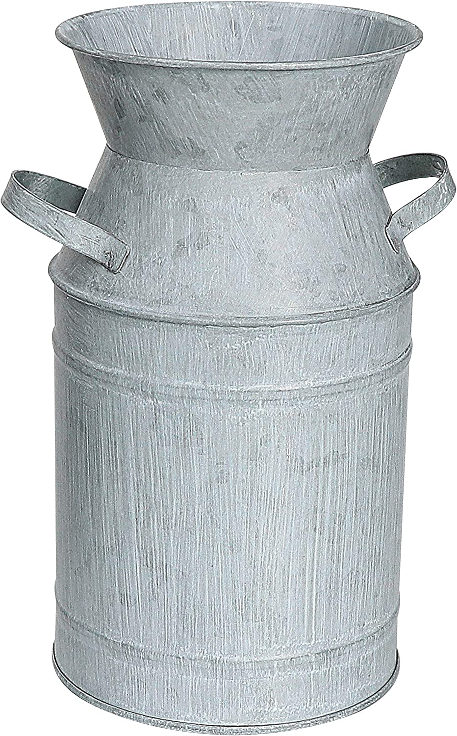 """Fovasen Metal Galvanized Flower Vase Milk Can Jug Bucket French Vintage Country Decorative with Handle for Rustic Farmhouse Home Decor Wedding Centerpiece Decor & Housewarming Gift -7.5"""" H /light grey"""