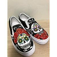 599701b9ef Skull Vans Slipon Shoes For Women Hand Painted Shoes Custom Vans Sneakers  FREE SHPPING