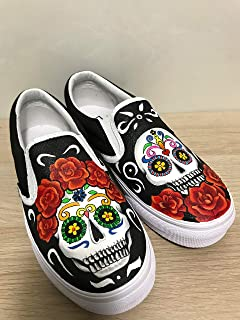 5a640ac54e4a19 Skull Vans Slipon Shoes For Women Hand Painted Shoes Custom Vans Sneakers  FREE SHPPING