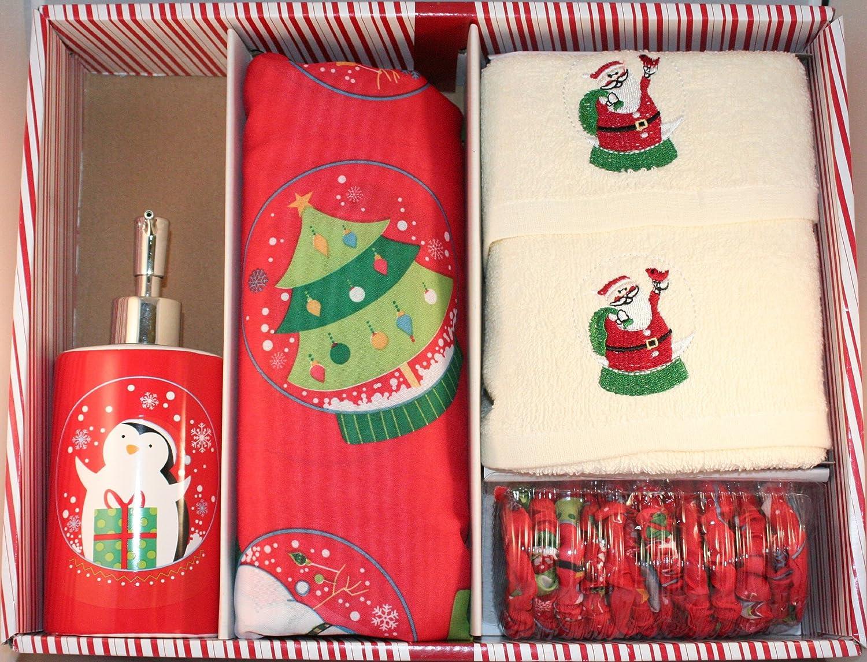 Amazon.com: Santau0027s Globe Shower Curtain Set W/ Hooks, Lotion Pump And 2  Hand Towels: Home U0026 Kitchen