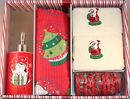 Amazon.com: Santa\'s Globe Shower Curtain Set w/ hooks, lotion pump ...