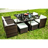 Merax 9 PCS Rattan Cube Garden Furniture Set Dining Set Outdoor wicker Cushioned Chair and Ottoman Rattan Patio Set (Brown)