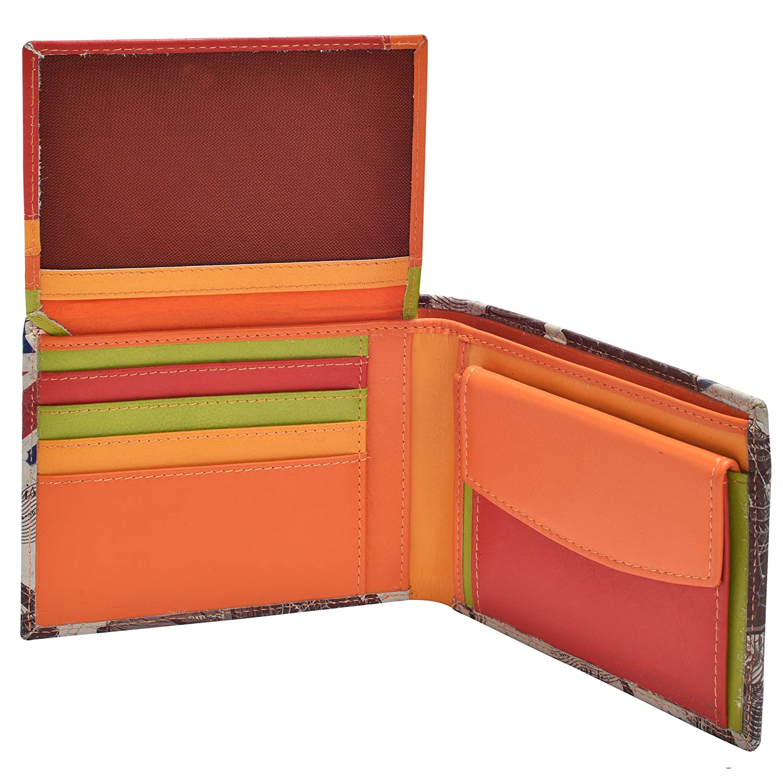 HiLEDER 100/% Pure Genuine Premium Sheep Nappa Leather 3D Printed Handmade Slim Bifold Men/'s Wallet Multicoloured