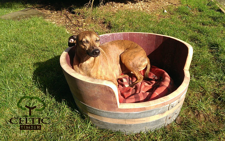 OAK WINE BARREL DOG BED Handmade