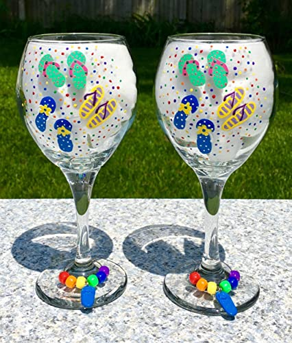5423577f8caa Image Unavailable. Image not available for. Color  Wine Glasses With Hand  Painted Flip Flops ...
