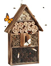 Relaxdays Casetta per insetti grande 50 cm da appendere, hotel per api e casa per farfalle in legno marezzato beige