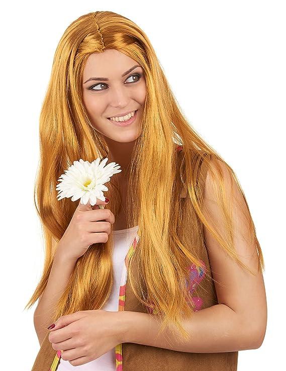 Peluca larga hippie pelirroja mujer - Única: Amazon.es ...