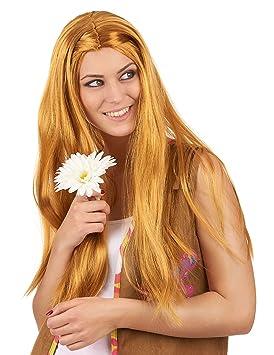 Peluca larga hippie pelirroja mujer - Única
