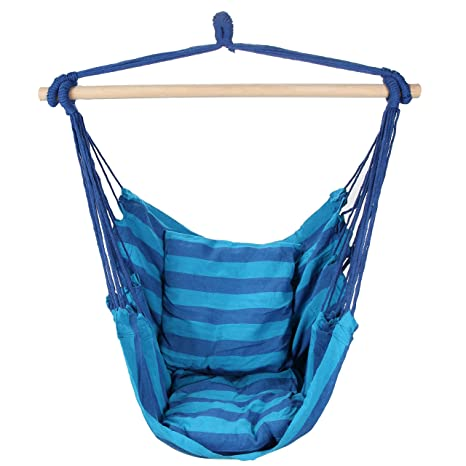Superb Swing Hanging Hammock Chair With Two Cushions (Blue)