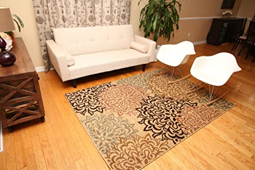 Feraghan New City Contemporary Modern Floral Flowers Area Rug, 4 x 6 , Brown Beige