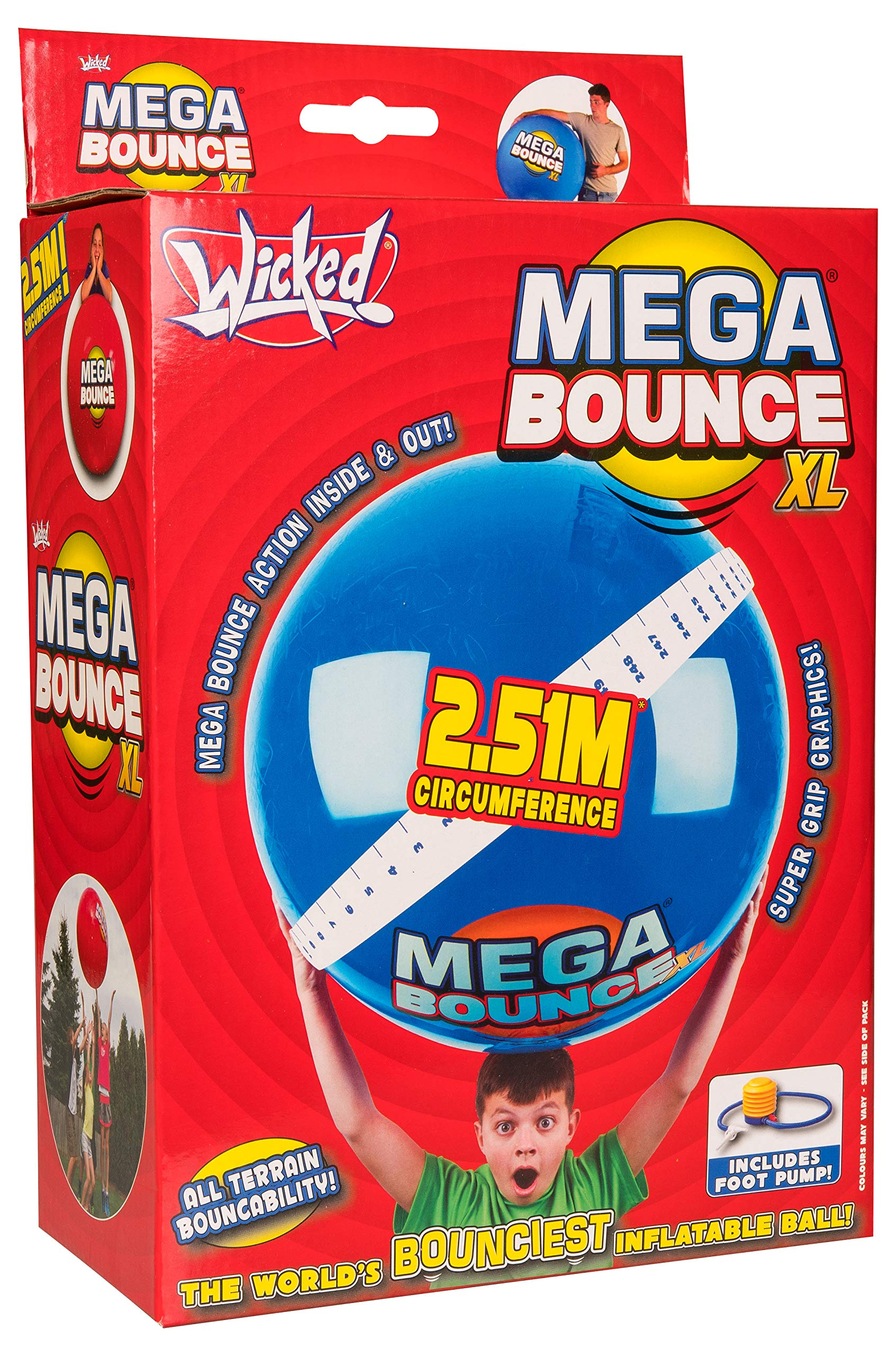 Wicked Mega Bounce XL Inflatable Ball, Colors Will Vary