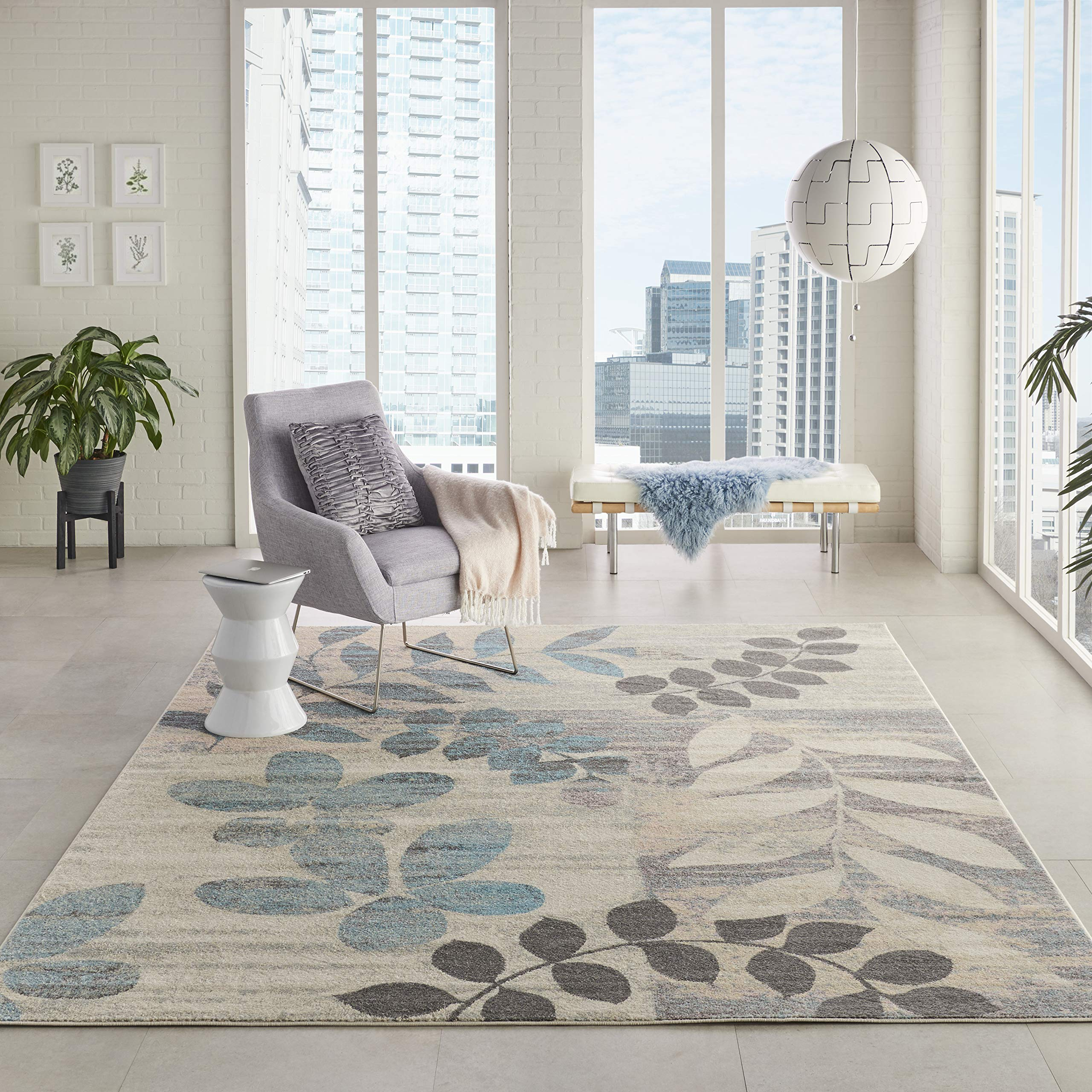 Nourison TRA01 Tranquil Modern Distressed Ivory/Light Blue Area Rug 8' X 10' by Nourison