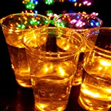 DIY Party Light-up Cups, Light Sticker, Adhesive LED Coaster for Glow Party, House Party - Colorful Lights to Wine Glass, Bee