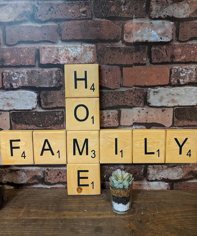 Letrero de madera Eli231Abe Scrabble Home FAMILY para decoración del hogar, decoración de la pared, cartel familiar para el hogar: Amazon.es: Hogar