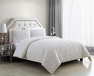 VCNY Home Caroline Duvet Cover Sets, Queen, White