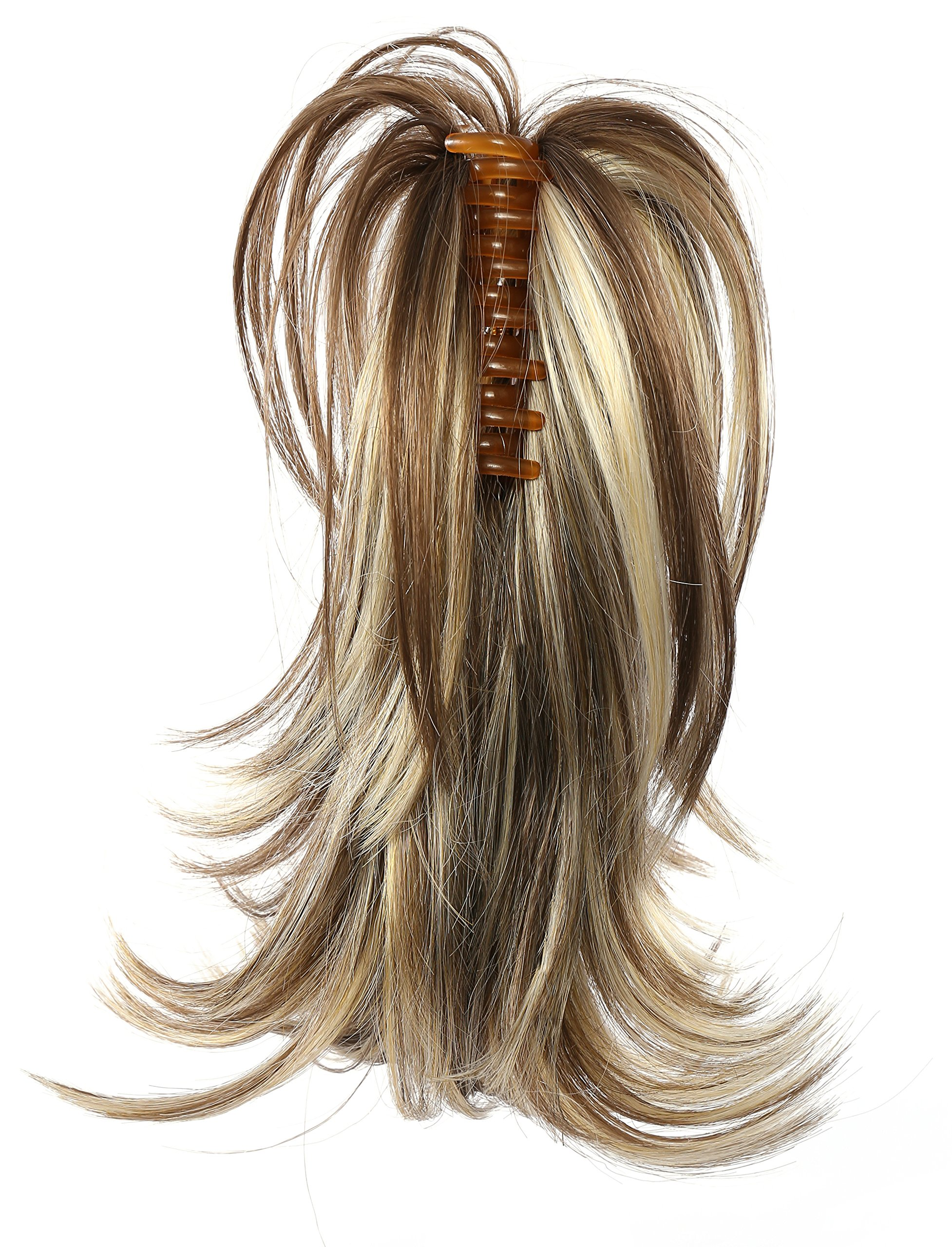 Onedor 12 inch Premium Synthetic Adjustable & Customizable Updo Style Ponytail Hair Extension with Clip on Claw Attachment (AB461)